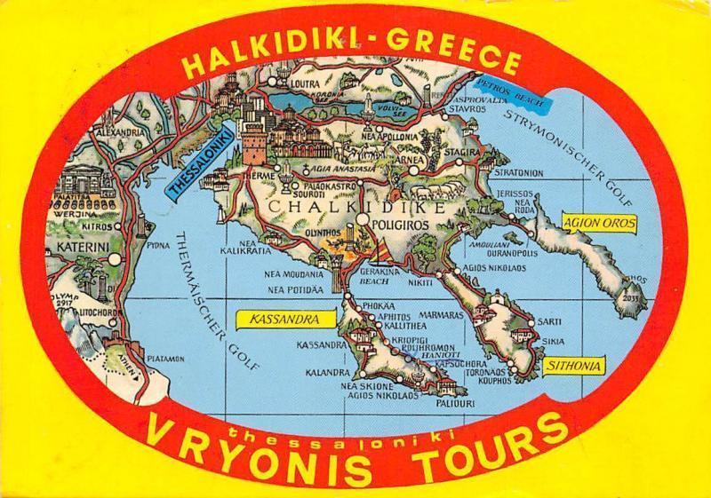 Greece Halkidiki Vryonis Tours Map Stadtplan Kassandra Sithonia ...