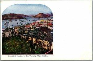 1910s ST. THOMAS U.S. Virgin Islands Postcard Beautiful Harbor Bird's-Eye View