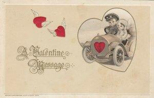 John Winsch 1914 , VALENTINE ; Child Couple in an automobile