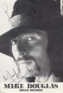 Mike Douglas Decca Records LP Publicity Card Hand Signed Photo