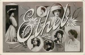 Large Letter Edwardian Ladies~ETHEL~Real Photo Postcard~Art Nouveau Daisies 1906