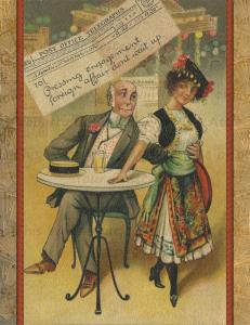 Funny Romantic Postcard Set of 12, Old Fashioned Woman Flirting with Man at Bar