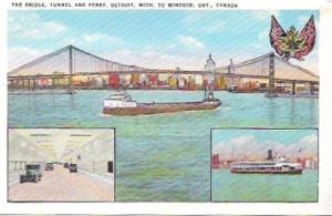 Detroit-Windsor Tunnel, Bridge, and Ferry - Windsor, Ontario, Canada. Ship