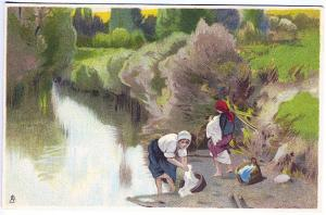 Tuck Chromograph Continental Series Women Near Water Postcard