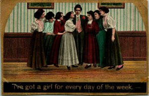Vtg 1900s Theochrom Postcard - I've Got a Girl For Every Day of  the Week