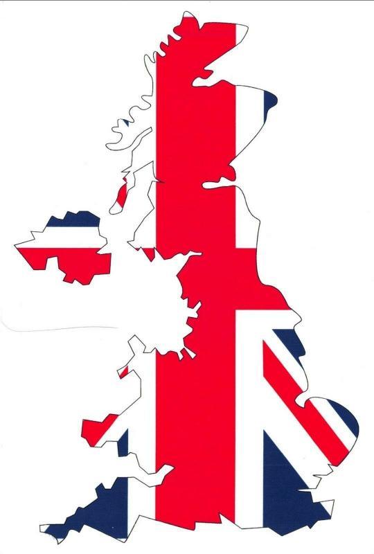 Pack of 6 New Postcard, United Kingdom Flag Map, Union Jack 77L