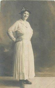 Early photo postcard anonymous people woman fashion dress hat Villach studio