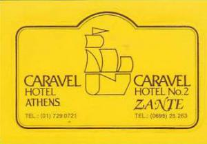 GREECE ATHENS & ZANTE CARAVEL HOTEL VINTAGE LUGGAGE LABEL