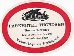 Germany Husum am Nordsee Parkhotel Thordsen Vintage Luggage Label sk3209