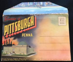 Unused Linen Souvenir Folder w/9 Double sided pics Pittsburgh PA LB