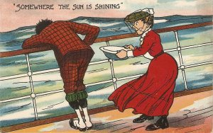 Somwhere the sun is shining Humorous vintage English postcard