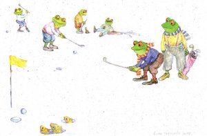 Frogs Playing Golf Exhibition Advertising Postcard