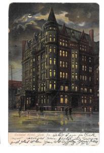 York PA Colonial Hotel Night Vintage UDB Postcard ILPC Co