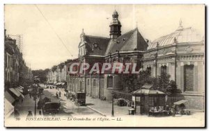 Old Postcard Fontainebleau The main street and & # 39eglise