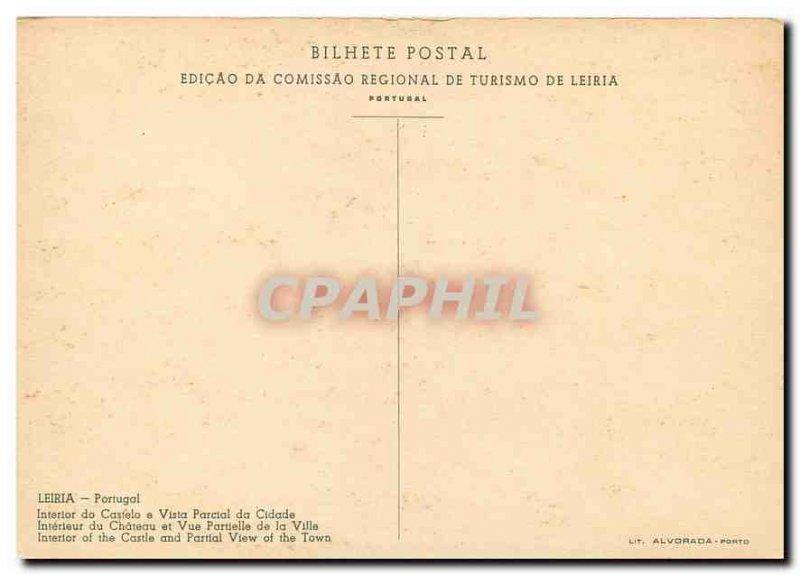 Postcard Modern Leiria Portugal Interieur du Chateau and Partial View of the ...