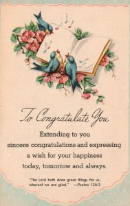 Vintage Postcard 1910s Sincere Congratulations & Wish A Happiness Greeting Card