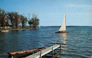 Coldwater Michigan Crystal Beach Sail Boat Vintage Postcard K59569