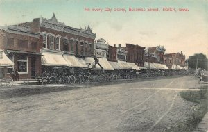 LPS68 TRAER Iowa Town Business Street View Hand Colored Postcard