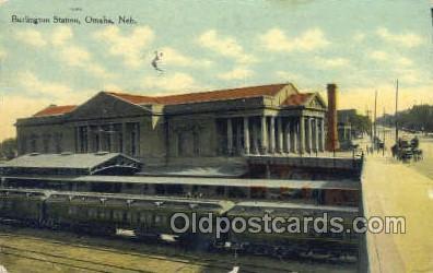 Burlington Station, Omaha, NE USA Train Railroad Station Depot Post Card Post...