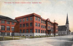 Ishpeming Michigan~Swedish Lutheran Church~High School~1910 Postcard