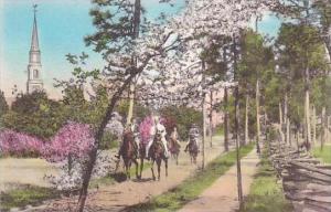North Carolina Pinehurst Horseback Riders Near The Village Chapel Albertype