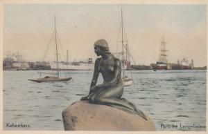 Copenhagen Nude Female Statue By Boats Ship Old Denmark Postcard