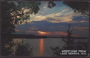 Greetings From Lake Geneva,WI Postcard BIN