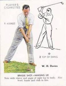 Player Vintage Cigarette Card Golf 1939 No 12 Brassie Shot Hanging Lie W H Da...