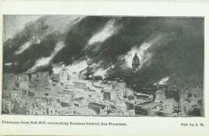 C.1906 San Francisco Earthquake Business District from Nob Hill Postcard P97
