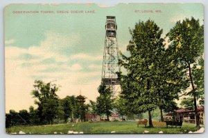St Louis Missouri~Creve Coeur Lake Observation Tower~Spiral Steps~c1910 Postcard