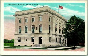 SELMA, Alabama Postcard Government Building Street View - Kropp c1930s Unused