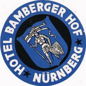 Germany Nuernberg Hotel Bamberger Hof Vintage Luggage Label sk2985