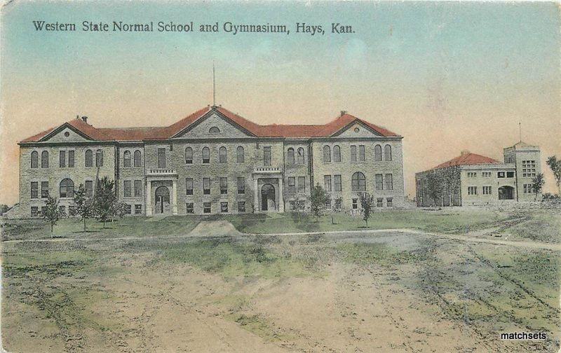 C-1908 Hand Colored Western State Normal Gymnasium School HYDE KS 11802