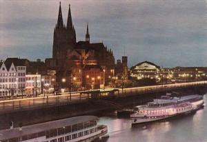 Germany Koeln am Rhein At Night Abendstimmung