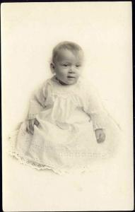 Cute Little BABY CHILD DRESS Real Photo Postcard (1910s) RPPC