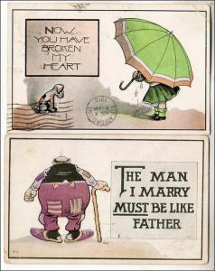 2 - Humour Cards, Fat Man & Umbrella