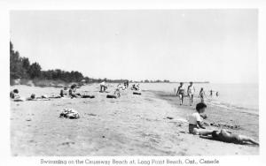 Long Point Beach Ontario~Swimming on the Causeway~1960s Real Photo Postcard