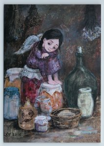 LITTLE GIRL Home Angel Pantry w/ pickles Cook by Chakvetadze Russia New Postcard