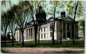 Kingston, Ontario Canada Postcard Court House Building Street View 1907 Cancel