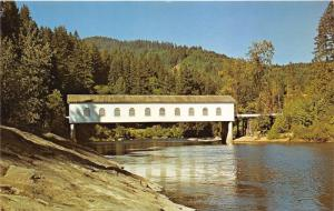 Vida Oregon~Goodpasture Covered Bridge over McKenzie River~1960s Postcard