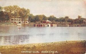 Sioux City Iowa Country Club Waterfront Antique Postcard K83351