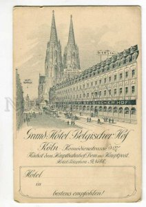 289355 GERMANY Cologne KOLN ADVERTSING Grand HOTEL & Rhein map Vintage postcard