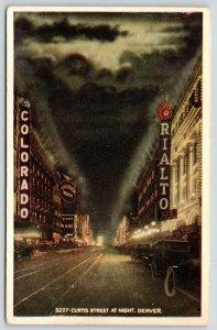 Denver Colorado~Curtis Street Theatre Night Lights~Rialto~America~Cars~1915