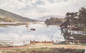 Lake Windermere Looking North, Sailboat, LAKE WINDERMERE, England, UK, 1900-1...