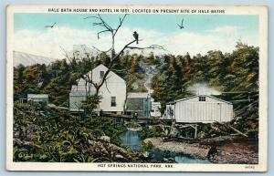 Postcard AR Hot Springs National Park Hale Bath House Hotel As Seen in 1851 Q13