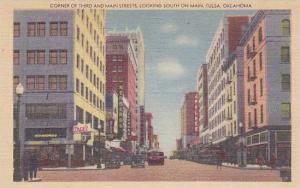 Corner of Third and Main Streets,looking South on Main,Tulsa, Oklahoma,30-40s