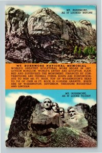 Mt Rushmore SD, Looked Before, Looks Today, Chrome South Dakota Postcard