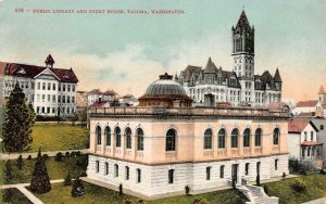 TACOMA, WA Washington  PUBLIC LIBRARY & COURT HOUSE Courthouse  c1910's Postcard