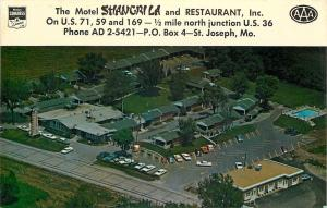 St Joseph Missouri~Motel Shangri La and Restaurant Inc~1950s Birdseye~Postcard
