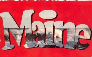 Maine~State Large Letter CHROME Postcard~Ocean Surf~Deckled Edge~Red Back~1950s